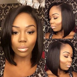 $enCountryForm.capitalKeyWord Canada - 8a Best Short Human Hair Bob Wigs Brazilian Straight Full Lace Human Hair Wig With Baby Hair Body Wave Lace Front Wigs