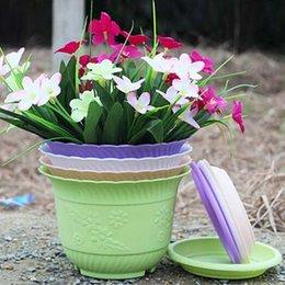 Venta al por mayor de 5 unids / lote envío gratis maceta de jardinería con paleta de plástico de alta calidad Balcón planta de jardín maceta onda bandas laterales
