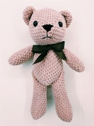 $enCountryForm.capitalKeyWord Canada - Pineapple lattice teddy bear doll new bow tie long leg bear key chain bag pendant stuffed doll gift