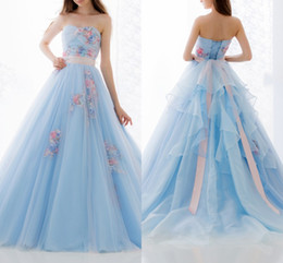 $enCountryForm.capitalKeyWord Canada - Light Sky Blue Strapless Prom Dresses With Colorful Appliques Beaded Ribbon Sash Lace Up Tiered Back Evening Gown Formal Party Dresses