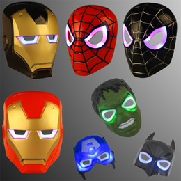 Discount masquerade masks LED Masks Children Animation Cartoon Spiderman Light Mask Masquerade Full Face Masks Halloween Costumes Party Gift WX-C07