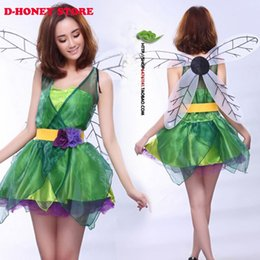 free shipping halloween costume fairy costume forest green elf dress wings belt flower fairy cosplay costumes green fairy halloween costume deals - Green Fairy Halloween Costume