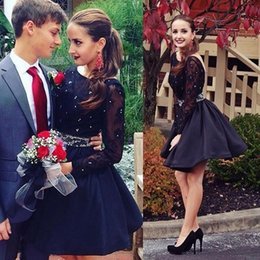Little Springs Canada - Little Black Short Mini Cocktail Dresses Sheer Long Sleeves Lace Appliques Prom Dresses Sexy Backless Short Homecoming Dresses For Party
