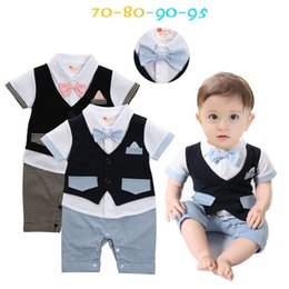 $enCountryForm.capitalKeyWord Canada - summer baby boy vest rompers short sleeve gentlemen jumpsuits infant boy bow birthday party suit wedding clothes toddler clothes wholesale