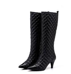 thigh high boots diamond 2019 - Women Heel Classic Diamond Lattice boots Winter New Arrival Classic luxury Fashion Brand Genuine Leather Ladies sexy Kne