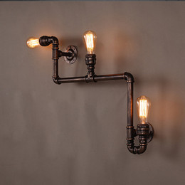 Vintage Antique Bulbs Canada - 110V-220V Loft Industrial Wall Lamps Antique Edison Wall lights with Bulbs E27 Vintage Pipe Wall Lamp for Living Room Lighting