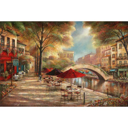 Landscape Painting Impressionist NZ - Hand painted oil painting Garden art Riverwalk Cafe Ruane Manning Sung Kim Italian Landscapes picture for Home decor