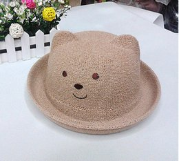 kids bear hat NZ - Fashion summer hats for kids outdoor quite bear Grass Braid Stingy Brim Hats straw cap manufacture free shipping
