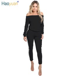 Barato Blusa Longa Para Mulheres De Manga Branca-HAOYUAN Two Piece Rompers Womens Jumpsuit Full Bodysuit Branco Preto Striped Slash Neck Outfits Sexy Skinny Jumpsuit Long Sleeve J1110
