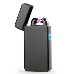 $enCountryForm.capitalKeyWord UK - New Double ARC Electric USB Lighter Rechargeable Plasma Windproof Pulse Flameless Cigarette lighter colorful charge usb lighters
