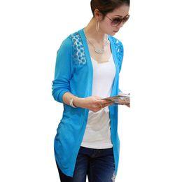 0db537147b2 Wholesale- 2016 Fashion Women Cardigan Lace Sweet Candy Pure Color Sexy Lady  Slim Crochet Knit Sweater Cardigan Coat Women Basic Jacket