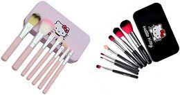 $enCountryForm.capitalKeyWord NZ - Hello kitty Make Up Cosmetic Brush Kit 7pcs Makeup Brushes Pink black iron Case Toiletry beauty hello Kitty brush set