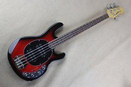 Chinese  Factory wholesale music man stingRay 4 strings red Electric bass guitar with 9V Battery active pickups manufacturers