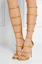 Out Boots NZ - Cool Fashion Mirror Patent Leather Knee High Gladiator Sandals Boots Strappy Cut Outs Summer Boots Sexy High Heels Shoes Woman Boots