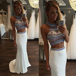 Barato Vestidos Coloridos Para Baile-Two Piece Mermaid Prom Dresses com colorido Beaded Back Zipper White Chiffon Long Sexy back Vestidos de noite formal Imagem real