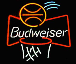 "neon sign sports bar UK - Budweiser Basketball Neon Sign Real Glass Custom Handmade Beer Bar Store Pub Club Game Room Sport Advertising Display Neon Signs 24""x24"""