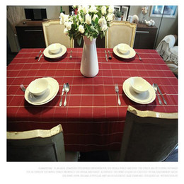 100% Cotton Double Warp And Weft Fabric Table Cloth With Red Plaid Lattice  Rectangular Tablecloths