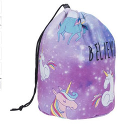 Wholesale unicorn Make Up Bag Women Brush Necessaries Cosmetic Bag barrel shaped Travel Toiletry Storage Box Makeup Wash Organizer Cases KKA3432