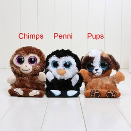 Monkeys Videos Canada - Ty Peek-A-Boo Phone Holder with Screen Cleaner Bottom Penguin penni Monkey chimps Dog pups TY Big Eyes toys