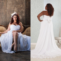 China 2017 Country Plus Size Wedding Dresses Beach Flowing Chiffon Sweetheart Sleeveless Lace-up Back Corset Bridal Gowns with Sexy High Split suppliers