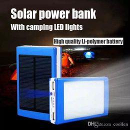 Power Bank Batteries Wholesale Canada - hot sale 20000 mAh Cargador Portatil Solar Power LED camping lantern Bateria Pack Energy Bank Sun Battery Charger Powerbank