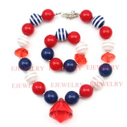 Acrylic Fashion Necklace Set Canada - fashion jewelry red waterdrop pendant blue white stripe acrylic beads chunky girl bubblegum kids Necklace&bracelet set for party gifts