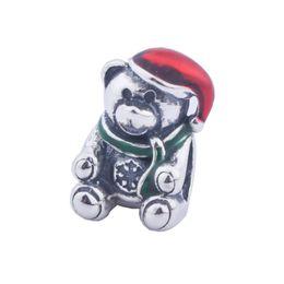 $enCountryForm.capitalKeyWord UK - Mixed Enamel Teddy Bear Charm Beads Fits Pandora Bracelets Authentic 925 Sterling Silver Christmas Bear Animal Bead Diy Xmas Fine Jewelry