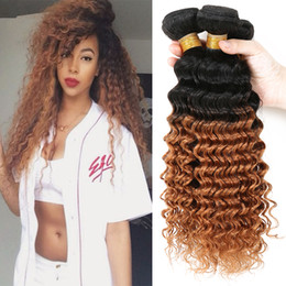 Curly Human Hair For Weaves Canada - New Arrival #1B 30 Human Hair Bundles Honey Blonde Two Tone Hair Weaves Deep Curly Hair Extensions 4 Pcs lot For Young Girl
