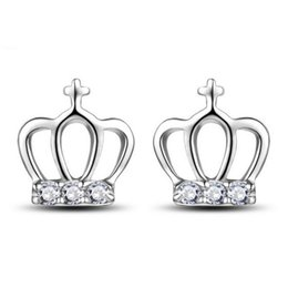 $enCountryForm.capitalKeyWord UK - Fashion Delicate Sterling Silver Crown Inlaid Crystal Mini Cross Small Stud Earrings Jewelry for Women