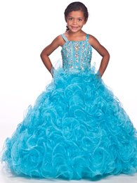 $enCountryForm.capitalKeyWord Canada - 2016 New Little Girls' Pageant Dresses Straps Crystal Beads Ball Gown Prom Birthday Wedding Kids Party Flower Dresses