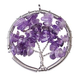 chip pendant NZ - women Rainbow Amethyst Tree Of Life Quartz Chips Pendant Necklace Multicolor Natural Stone Jewelry free shipping