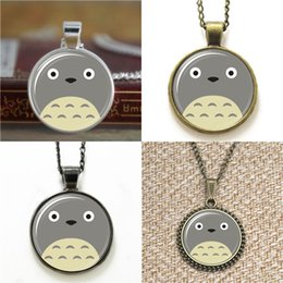 Discount totoro necklace - 10pcs Totoro Inspired Large Face glass Dome Pendant Necklace keyring bookmark cufflink earring bracelet