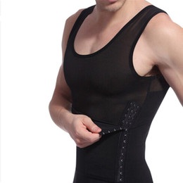 7f032327e Wholesale-2pcs hot men shaper vest slimming body shaper waist cincher tummy  control girdle shirt underwear belly sport shaperwear tank top