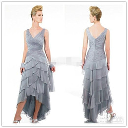 48a89cbfbf4 High Low Mother of the Bride Dresses Vintage V Neck Tiered Chiffon Skirt  Grey Mother Of the Groom Dresses Women Party Dresses Custom
