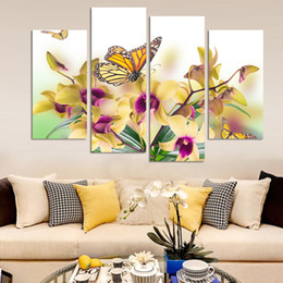 $enCountryForm.capitalKeyWord Canada - 4 Pcs Hot Sell yellow Flowers Wall Art Picture Modern Home Decoration Living Room or Bedroom Canvas Print Painting Wall picture( No Frame)