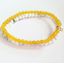 yellow turquoise stone 2021 - SN0147 New mens bracelet set Yellow Stone White Turquoise 4mm stone bead bracelet men2016 Free Shipping