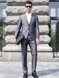 $enCountryForm.capitalKeyWord Canada - Groom Tuxedos Groomsmen Grey Side Vent Slim Fit Best Man Suit Wedding Men's Suits Bridegroom Custom Mad (Jacket+Pants)