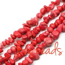 $enCountryForm.capitalKeyWord Canada - 5mm-8mm Freeform Gravel Light Red Natural Turquoise Chips Loose Beads Irregular Strand 80CM For wholesale (F00364) wholesale