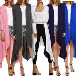 Barato Parte Superior Trench Da Luva Longa-Trench Coats Mulheres Plus Size Outerwear manga comprida crochê Cardigans Knitted Casual Lady Tops Irregular Sweater blusa Blusas femininas B2533
