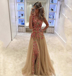 Barato Vestido, Forro, Champanhe-Long Champagne Evening Gown Sexy Backless Thigh Side Slit A-Line Feito à mão Flores coloridas Formal Prom Dress Cheap Custom Dress for Party