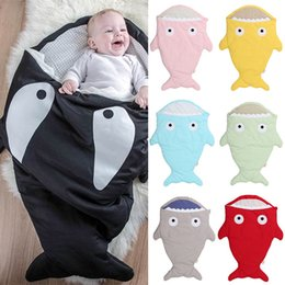 winter ins hot newborn baby sleeping bag cartoon shark kids blanket portable cotton swaddle warm toddlers sleepsacks wholesale