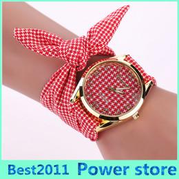 Discount floral dial watch - MIX 4 style Top Brand Women Fashion Casual Stripe Floral Cloth Quartz Dial Bracelet Wristwatch Dress Watch Free Shipping
