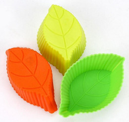 silicone mold cake leaf Canada - 500pcs lot, Silicone Cupcake Cases leaf Shaped Cake Baking Molds Cup Set Kitchen Craft Tool Bakeware Pastry Tools Cake Mold