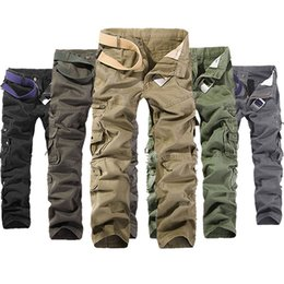 Barato Cargas Do Exército Dos Homens-Men's Military Army Combat Cotton Camo Cargo Pants tactical Casual Mens Pant Multi Pocket Outdoor calças retas Tamanho Plus 28-42