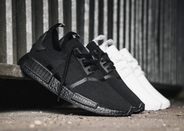 Discount nmd r1 triple black - New NMD Japan Pack Triple White BZ0221 Triple Black BZ0220 Real Boost NMD R1 Primeknit Running Shoes Small nipples Boost