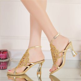 Discount bling wedding sandals - Plus Size 44 Bling Bling Gold Rhinestone Shoes Summer Open Toe Chunky Heel Wedding Shoes Ankle Strappy Party Prom Dancin