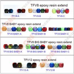 electronic replacement 2019 - Colorful Resin Tube Replacement Caps Big Capacity for Electronic Cigarette Glass Smok TFV12 TFV8 Baby X-Baby Big Baby Ta