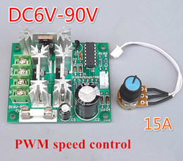 Discount cooling fan controller - Wholesale- DC 6V-12V-90V 15A computer Water cooling motor water pump fan pwm Infinitely adjustable speed Voltage control