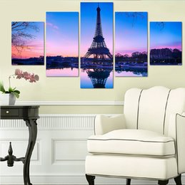 Discount piece canvas eiffel tower - 5 Pieces Canvas Printed Painting Paris Eiffel Tower Picture For Home Decoration Modern Wall Art