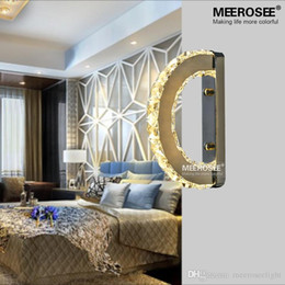 Modern Led Wall Light Fixture Crystal Wall Sconce Lustres D Shape Mirror Stainless Steel Beside Lamps For Bedroom Bathroom Crystal Bathroom Light Fixtures